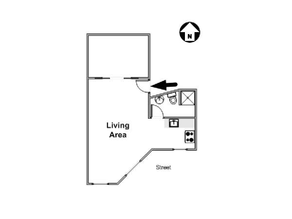New York Alcove Studio apartment - apartment layout  (NY-16458)