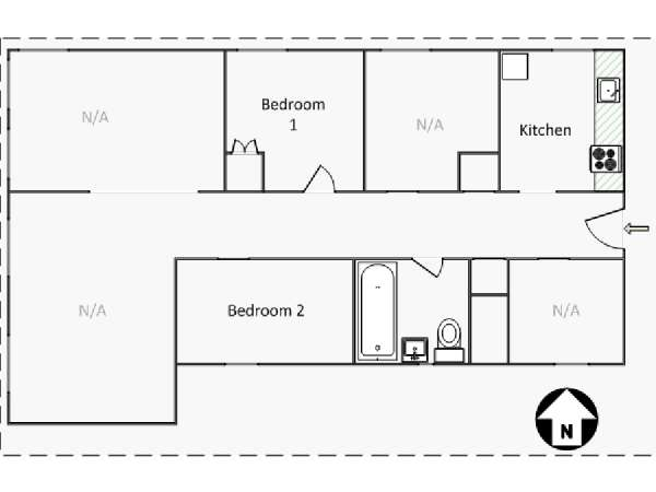 New York 4 Bedroom roommate share apartment - apartment layout  (NY-16460)