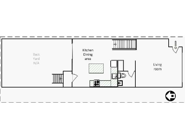 New York 3 Bedroom - Duplex roommate share apartment - apartment layout 2 (NY-16461)