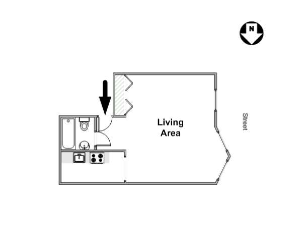New York Alcove Studio apartment - apartment layout  (NY-16469)