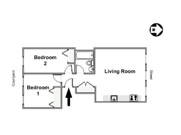 New York T3 logement location appartement - plan schématique  (NY-16472)