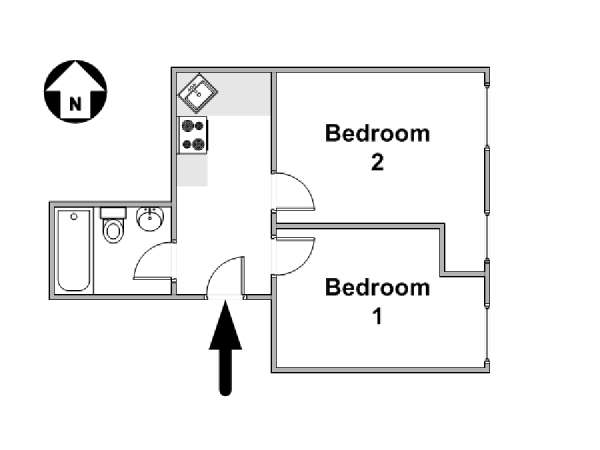 New York 2 Bedroom roommate share apartment - apartment layout  (NY-16478)