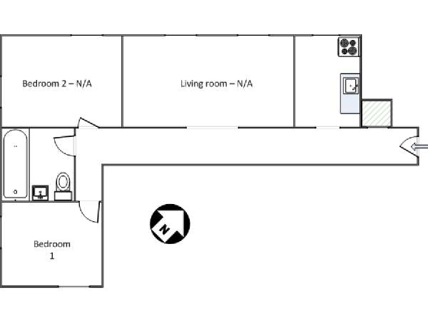 New York 2 Bedroom roommate share apartment - apartment layout  (NY-16493)