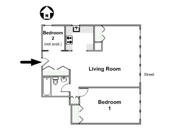New York 2 Bedroom roommate share apartment - apartment layout  (NY-16515)