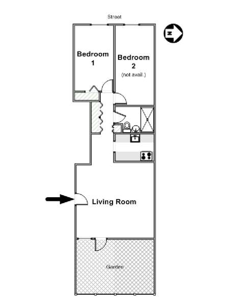 New York 2 Bedroom roommate share apartment - apartment layout  (NY-16517)