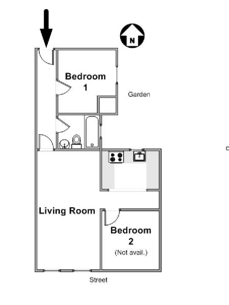 New York 2 Bedroom roommate share apartment - apartment layout  (NY-16533)