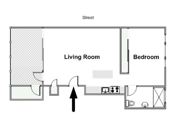 New York Alcove Studio apartment - apartment layout  (NY-16545)