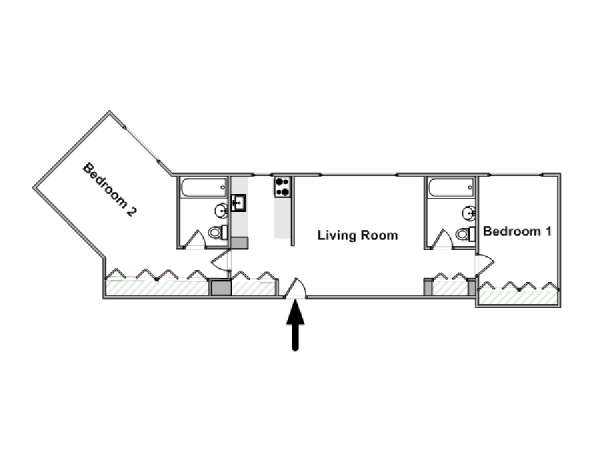 New York 2 Bedroom apartment - apartment layout  (NY-16608)