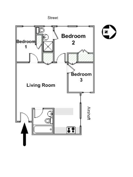 New York 3 Bedroom apartment - apartment layout  (NY-16610)