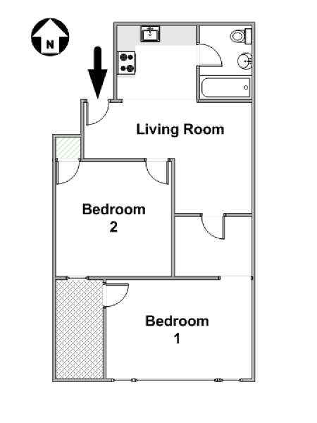 New York 2 Bedroom roommate share apartment - apartment layout  (NY-16614)