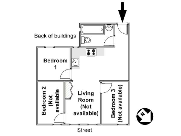 New York 3 Bedroom roommate share apartment - apartment layout  (NY-16656)