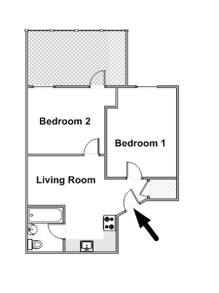 New York 2 Bedroom roommate share apartment - apartment layout  (NY-16673)