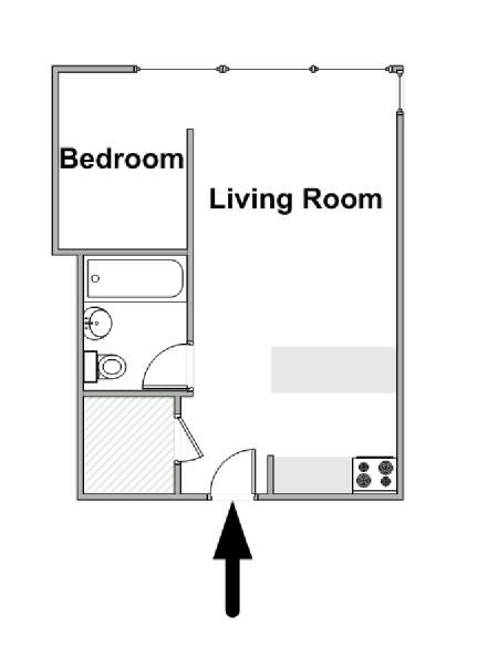New York Alcove Studio apartment - apartment layout  (NY-16701)