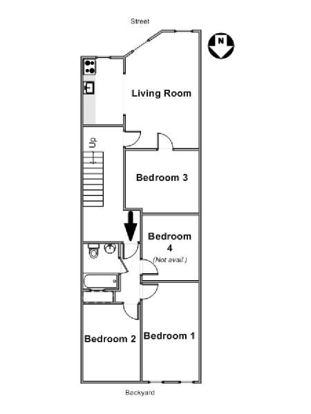 New York 4 Bedroom roommate share apartment - apartment layout  (NY-16764)