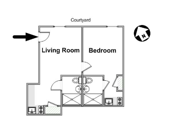 New York 1 Bedroom accommodation - apartment layout  (NY-16781)
