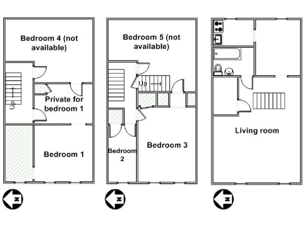 New York 5 Bedroom roommate share apartment - apartment layout  (NY-16805)