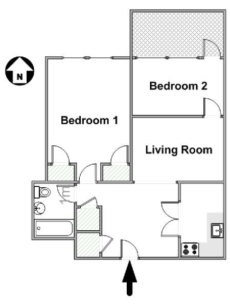 New York T3 logement location appartement - plan schématique  (NY-16809)