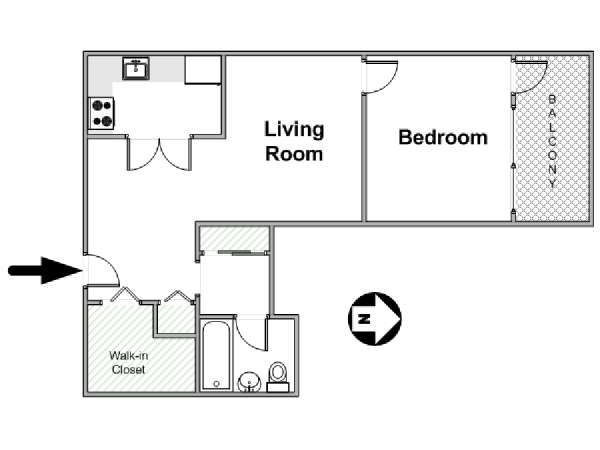 New York 1 Bedroom apartment - apartment layout  (NY-16810)