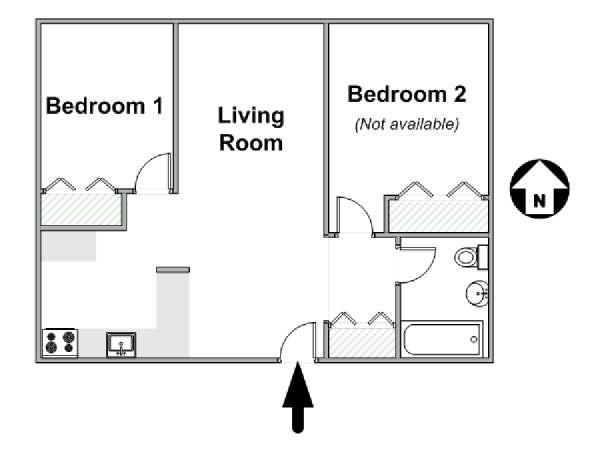 New York 2 Bedroom roommate share apartment - apartment layout  (NY-16814)