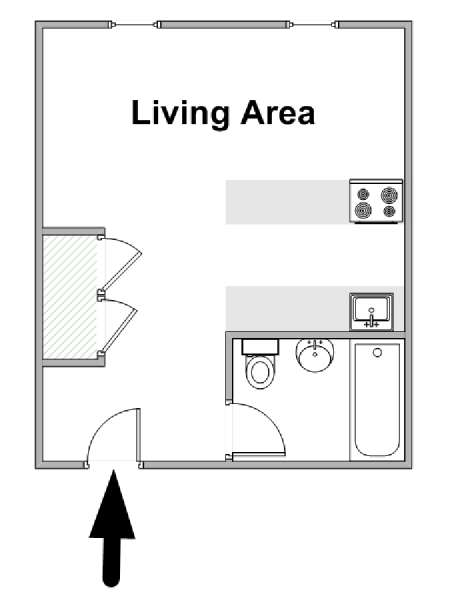 New York Studio apartment - apartment layout  (NY-16842)