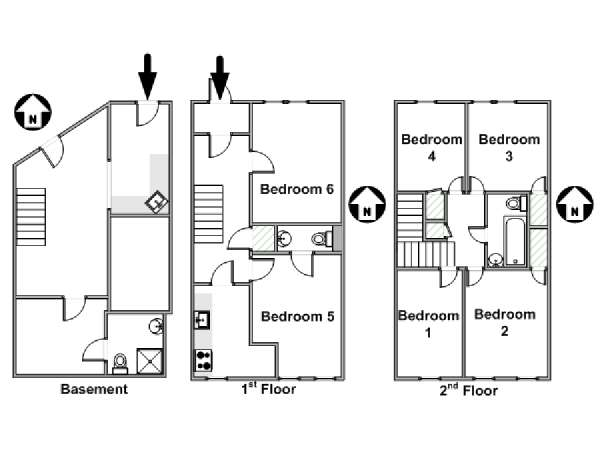 New York 6 Bedroom roommate share apartment - apartment layout  (NY-16850)