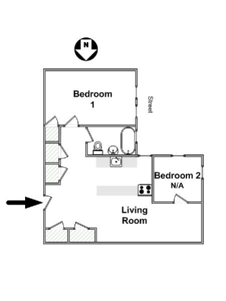 New York T3 appartement colocation - plan schématique  (NY-16924)