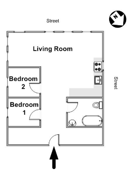 New York 2 Bedroom apartment - apartment layout  (NY-16930)