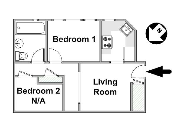 New York 2 Bedroom roommate share apartment - apartment layout  (NY-16957)