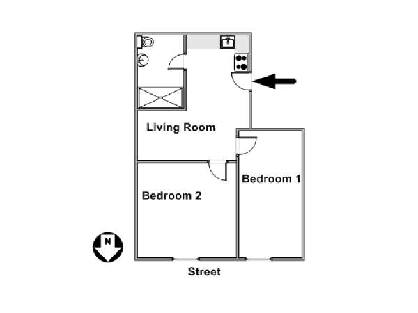 New York 2 Bedroom roommate share apartment - apartment layout  (NY-16959)