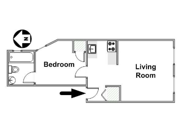 New York 1 Bedroom apartment - apartment layout  (NY-16965)