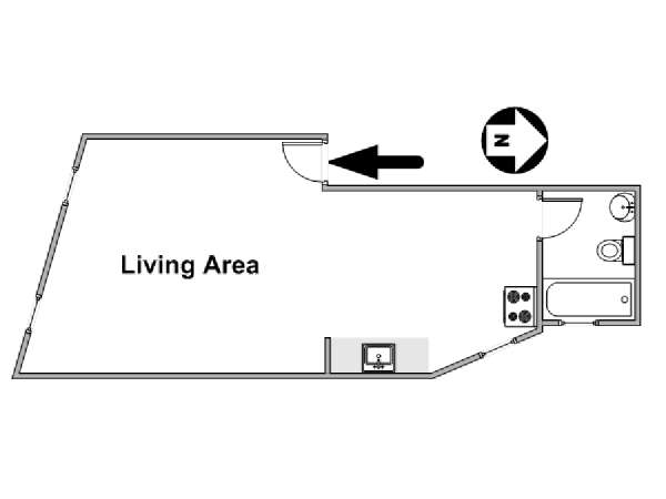 New York Studio T1 logement location appartement - plan schématique  (NY-16985)