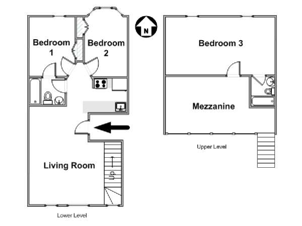 New York T4 - Duplex logement location appartement - plan schématique  (NY-17003)