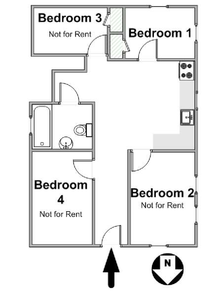 New York 4 Bedroom roommate share apartment - apartment layout  (NY-17006)