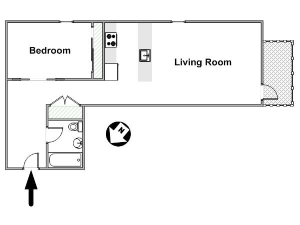 New York 1 Bedroom apartment - apartment layout  (NY-17032)