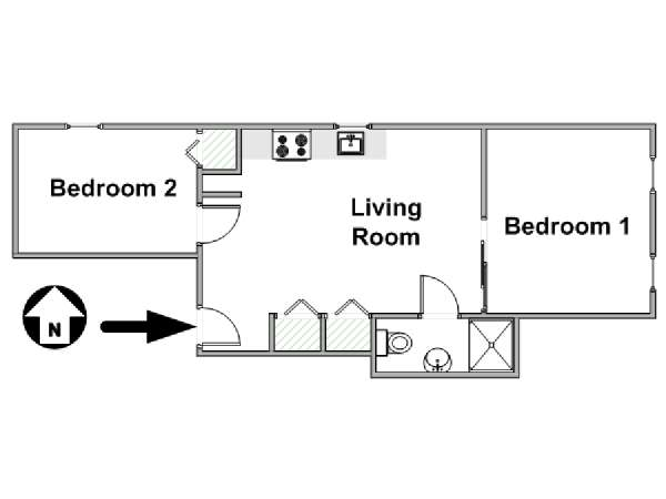 New York 2 Bedroom apartment - apartment layout  (NY-17074)