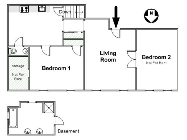 New York 2 Bedroom roommate share apartment - apartment layout  (NY-17081)