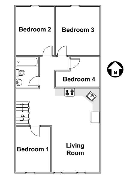 New York 4 Bedroom apartment - apartment layout  (NY-17086)
