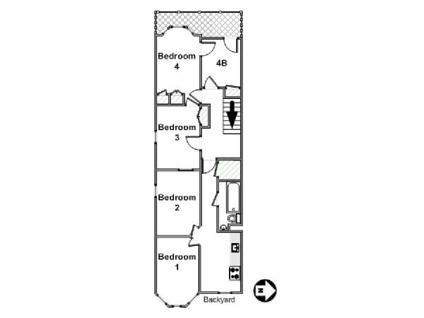 New York 4 Bedroom roommate share apartment - apartment layout  (NY-17089)