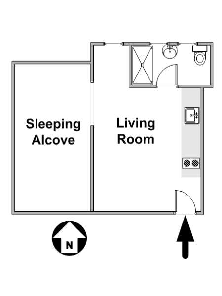 New York Studio apartment - apartment layout  (NY-17092)