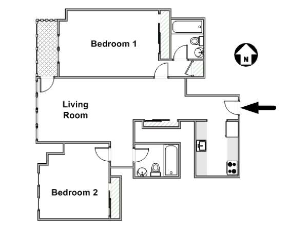 New York 2 Bedroom apartment - apartment layout  (NY-17096)