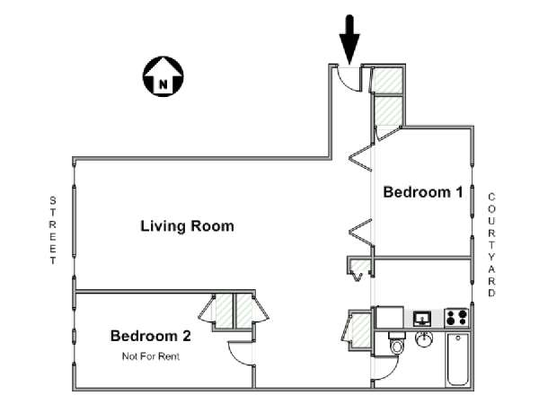 New York 2 Bedroom roommate share apartment - apartment layout  (NY-17100)