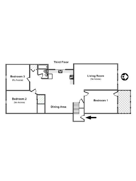 New York 3 Bedroom roommate share apartment - apartment layout  (NY-17104)