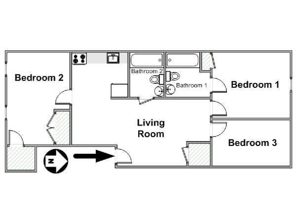 New York T4 appartement colocation - plan schématique  (NY-17144)