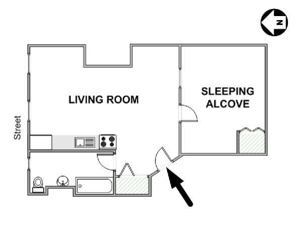 New York Alcove Studio apartment - apartment layout  (NY-17158)