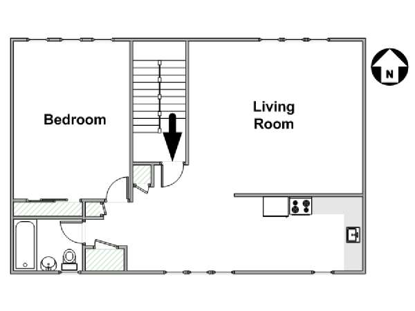 New York 1 Bedroom apartment - apartment layout  (NY-17174)