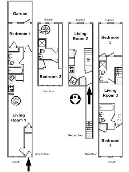 New York T5 - Duplex logement location appartement - plan schématique  (NY-17189)
