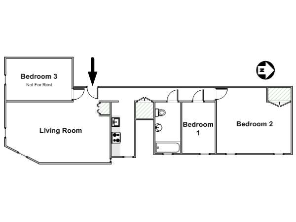 New York 3 Bedroom roommate share apartment - apartment layout  (NY-17194)
