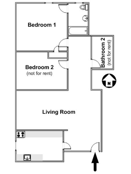 New York 2 Bedroom roommate share apartment - apartment layout  (NY-17206)