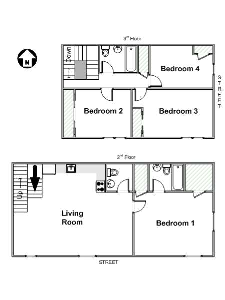 New York 4 Bedroom - Duplex roommate share apartment - apartment layout  (NY-17217)