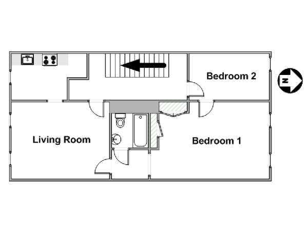 New York 2 Bedroom apartment - apartment layout  (NY-17238)